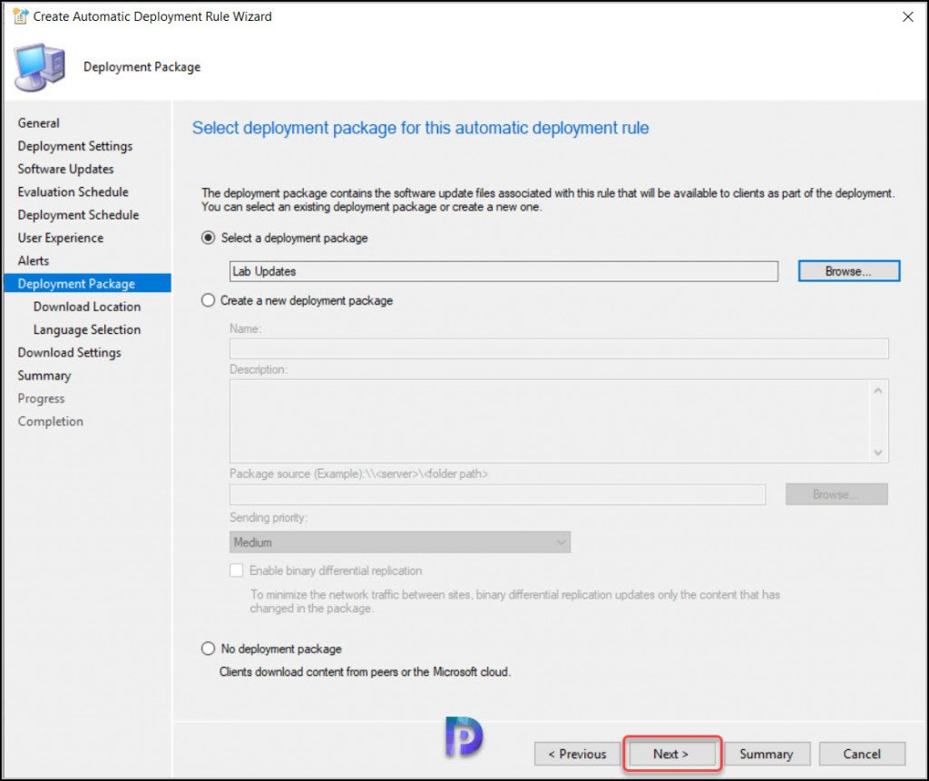 Specify Visual Studio Updates Deployment Package