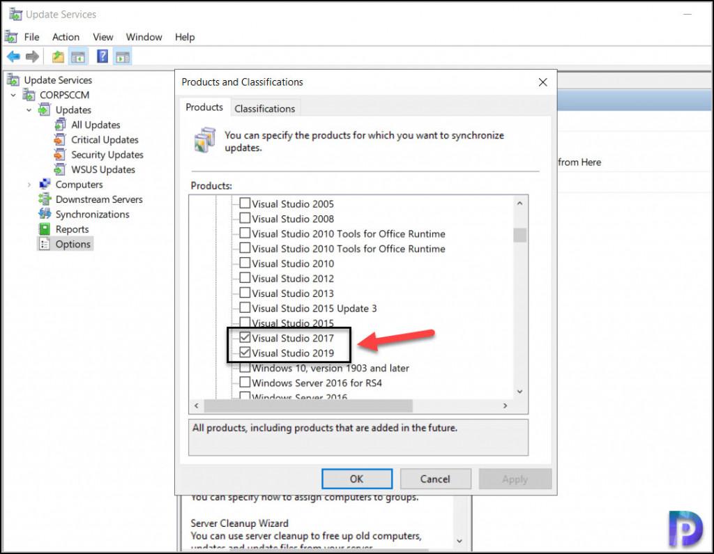 Enable Visual Studio Updates using WSUS