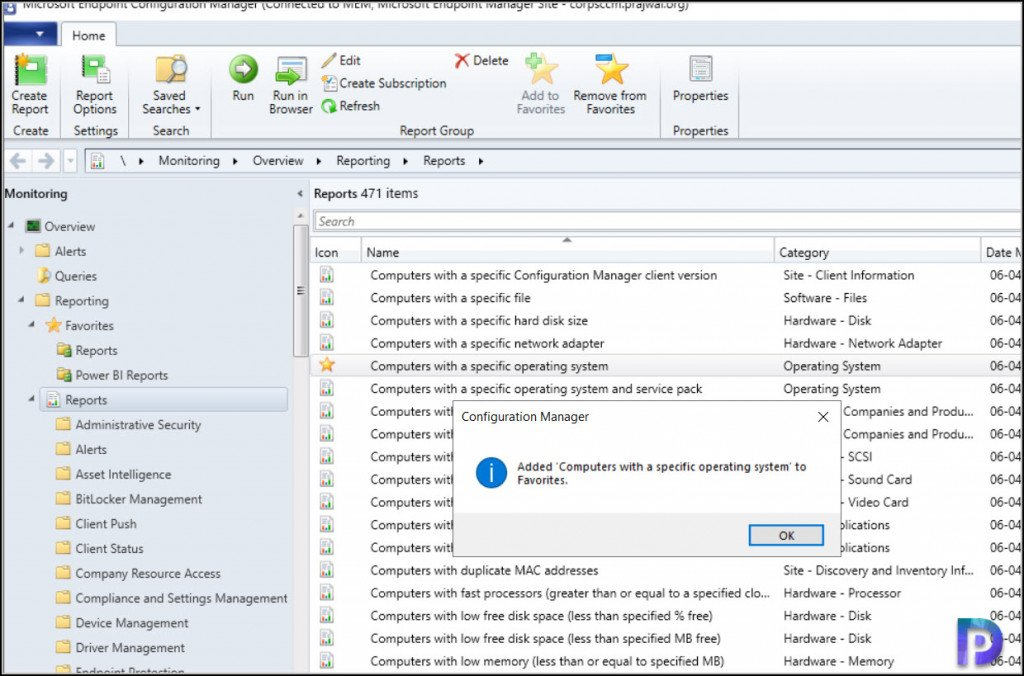 Add ConfigMgr Reports as Favorites