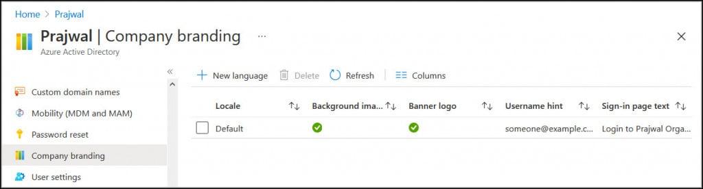 Configure Company Branding in Azure Portal