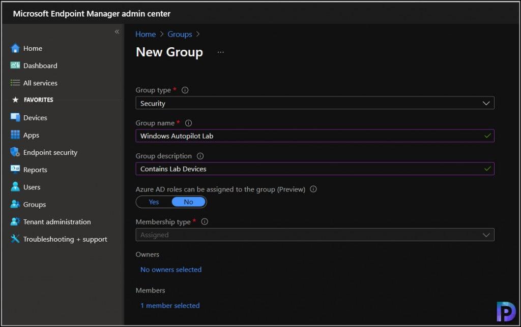Create a device group for Windows Autopilot