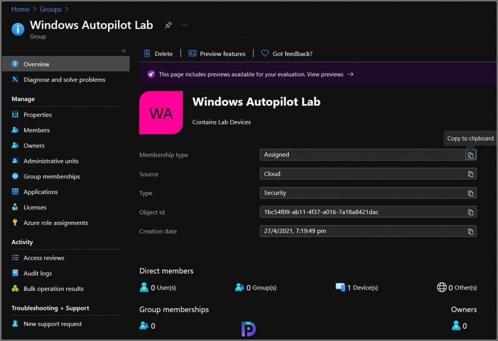 Windows Autopilot Group