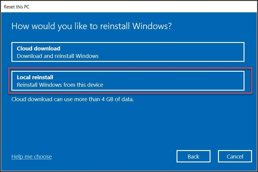 Reset the Windows 10 VM back to Out-Of-Box-Experience (OOBE)