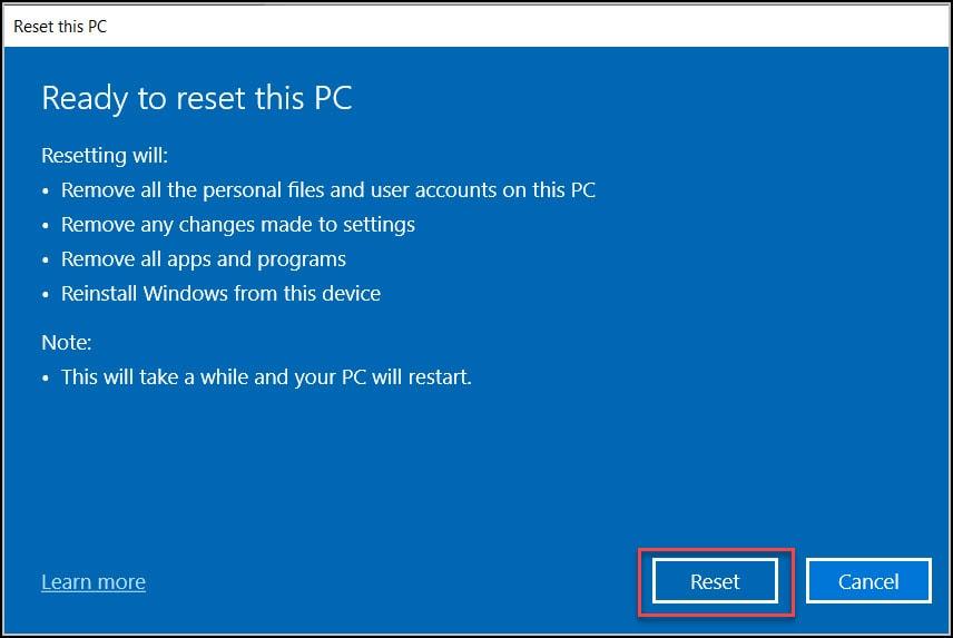 Reset Windows 10 VM