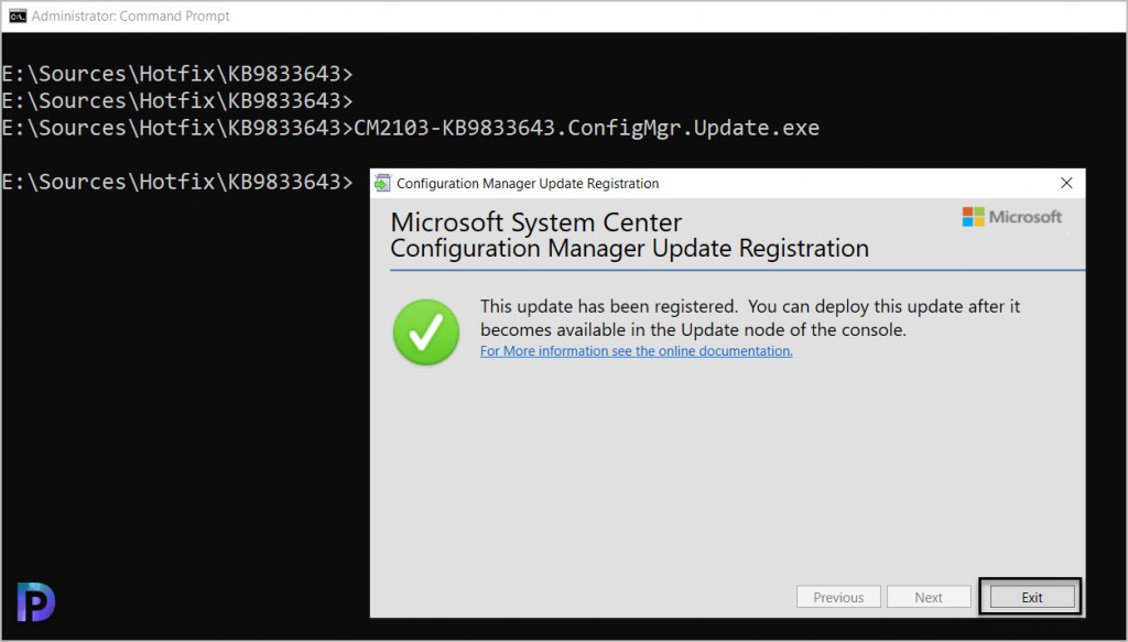 Import SCCM 2103 Hotfix KB9833643 using Update Registration Tool