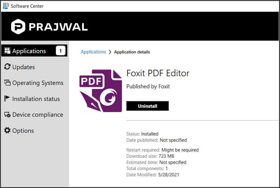 Deploy Foxit PDF Editor using ConfigMgr