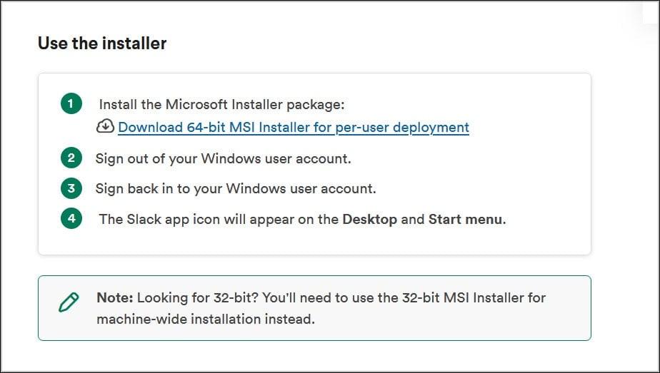 Download Slack MSI Installer for SCCM