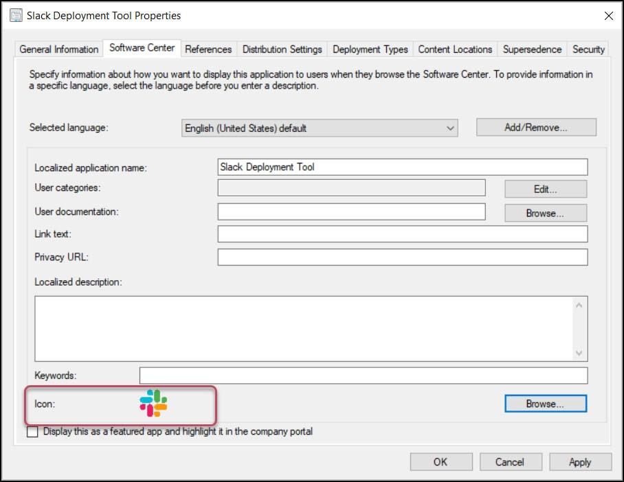 Specify Slack Application Icon in ConfigMgr