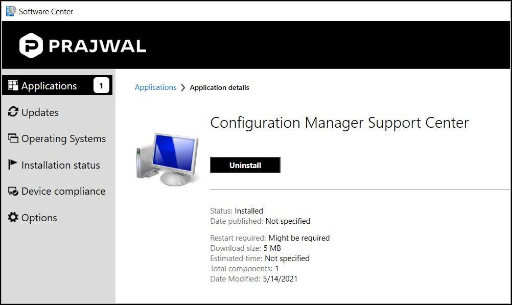 SCCM Support Center Tool Installation
