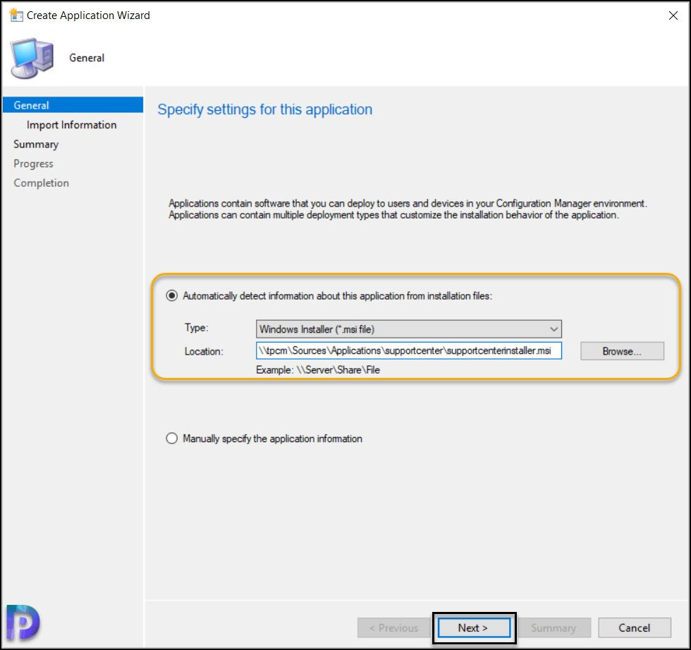 Create Support Center Application in SCCM