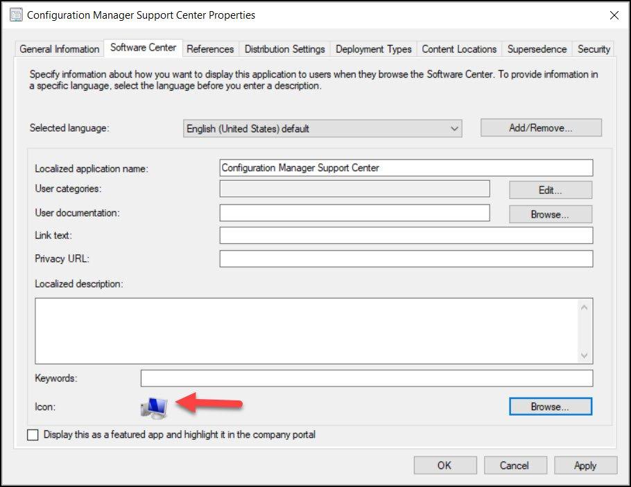 Specify SCCM Support Center Icon