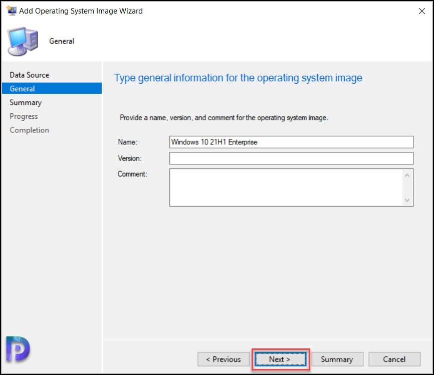 Import Windows 10 21H1 OS in SCCM