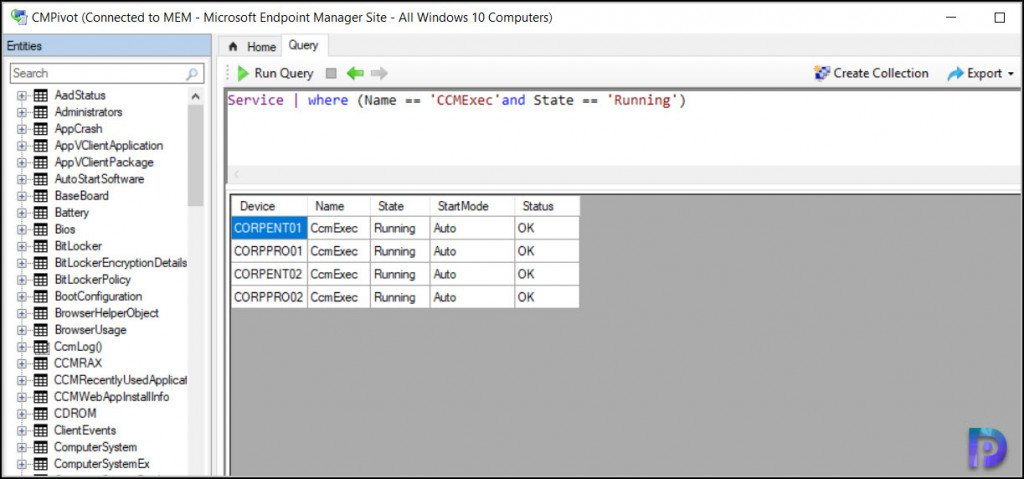 Find Service State using CMPivot Query