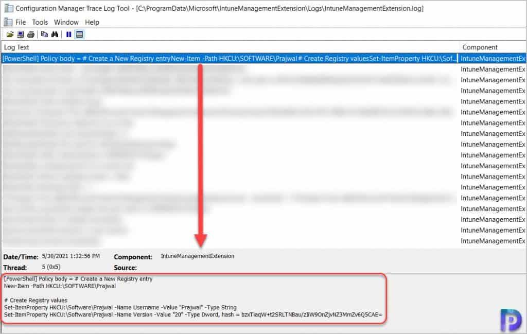 IntuneManagementExtension Log File
