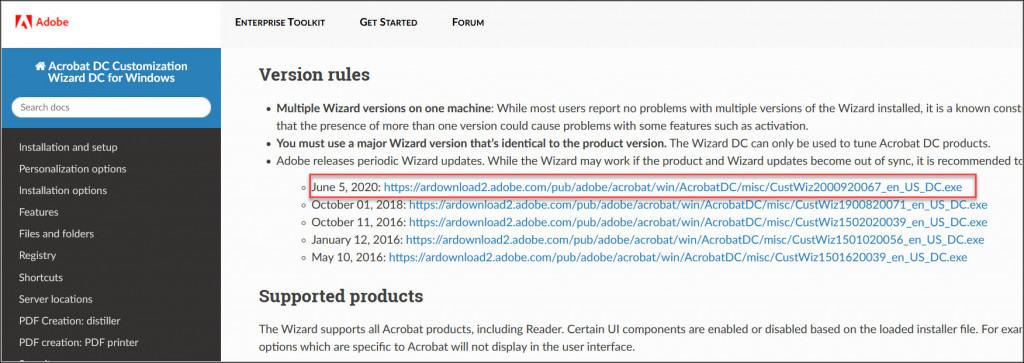 Download Acrobat Customization Wizard DC