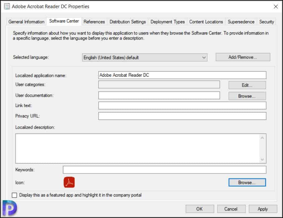 Specify Adobe Reader DC Application Icon in SCCM