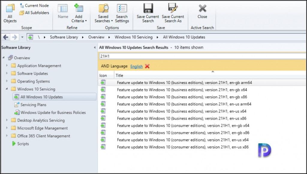 Get Windows 10 21H1 under Software Updates
