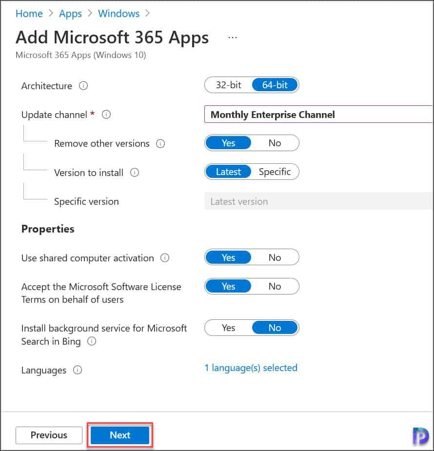 Microsoft 365 Apps Configure Suite