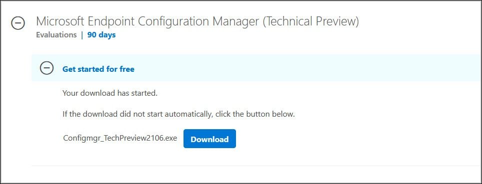 Download ConfigMgr Technical Preview 2106