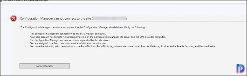SCCM Console Cannot Connect to the Site