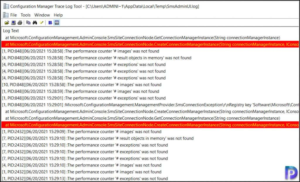 SCCM Console Performance Counter Exceptions Error