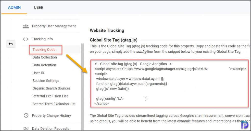 Find Google Analytics Code and Tracking ID