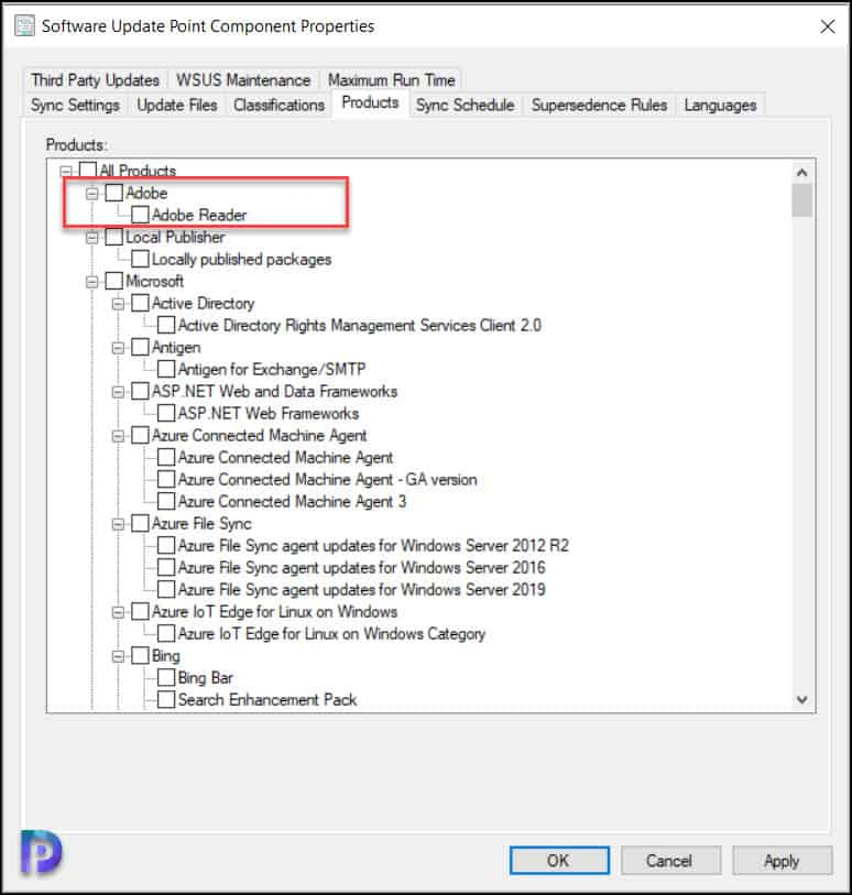 Unselect the Products in Software Update Point