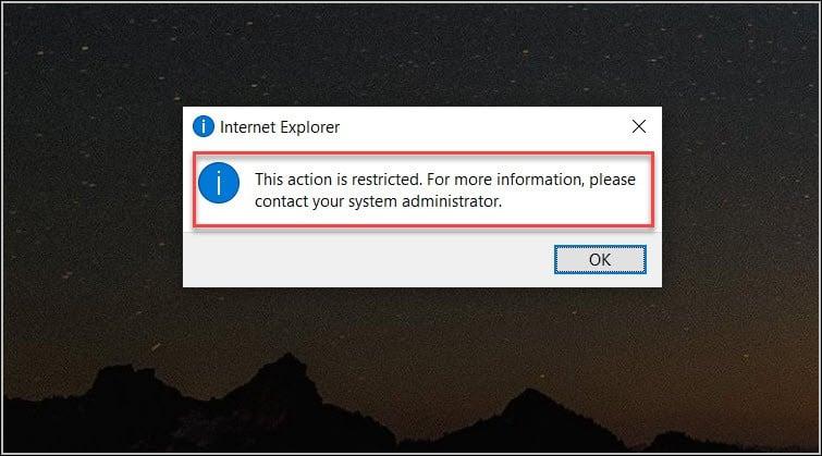Internet Explorer 11 Restricted