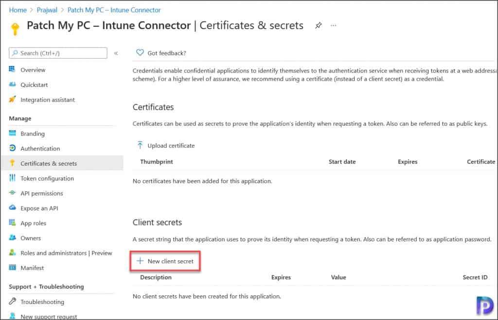 Create New Client Secret