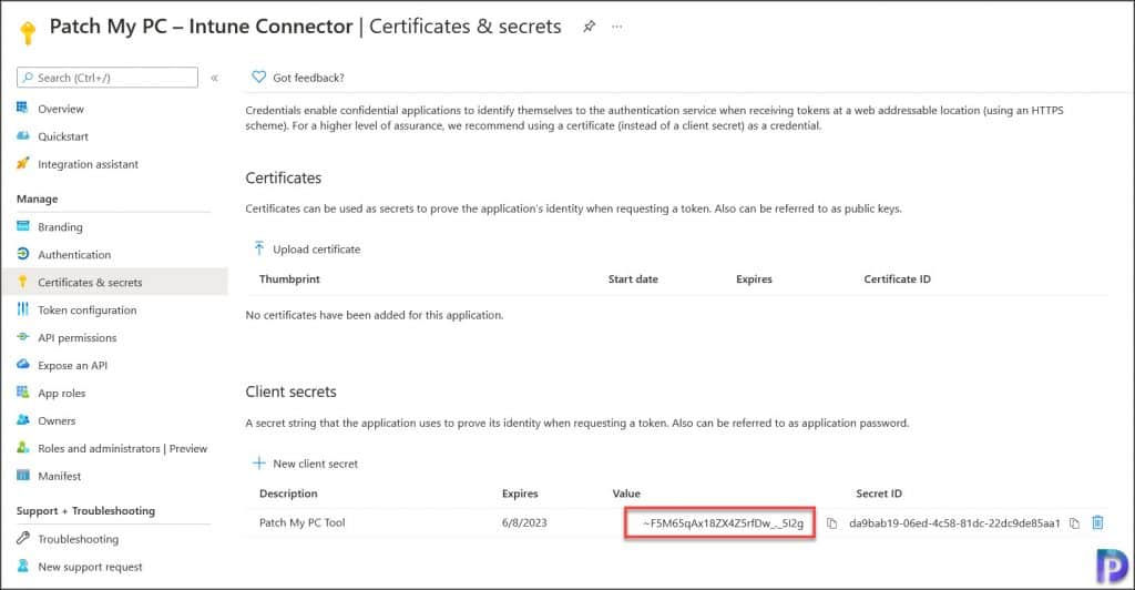 Create New Client Secret-Integrate Patch My PC with Intune