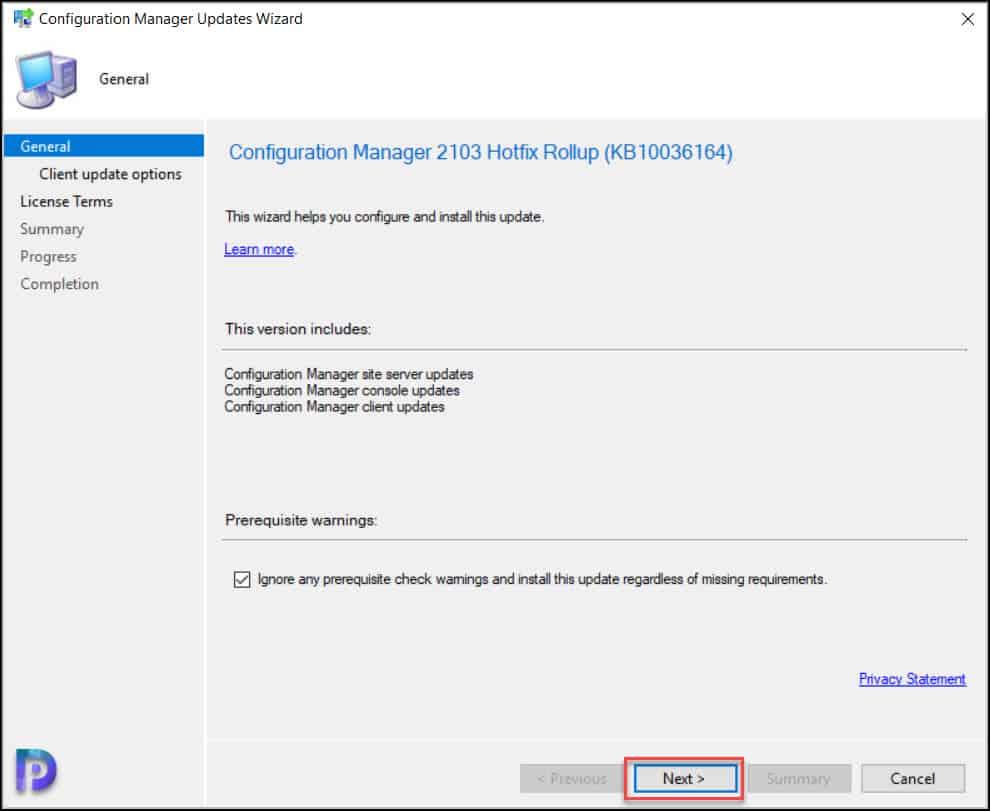 Install ConfigMgr 2103 Hotfix Rollup KB10036164
