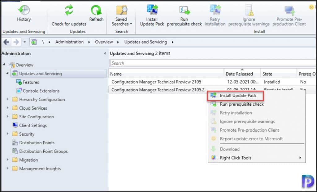 Install ConfigMgr Technical Preview 2105.2