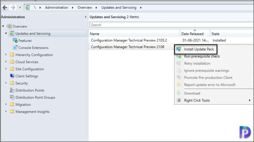 Install ConfigMgr Technical Preview 2106