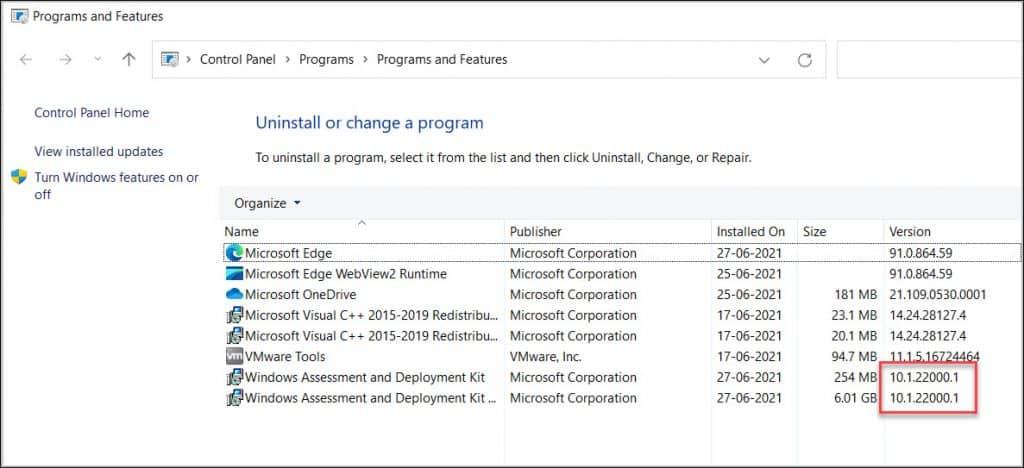 Windows 11 ADK Version Number