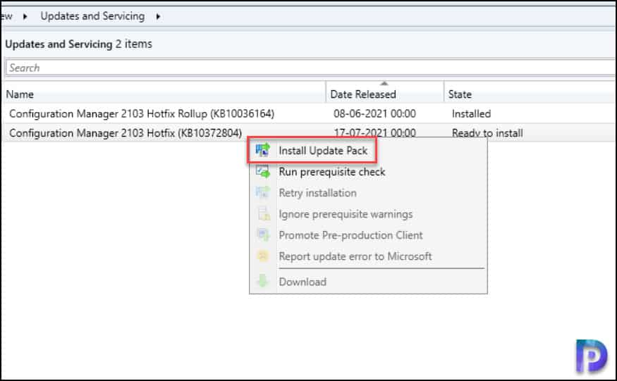Install Configuration Manager 2103 Hotfix KB10372804