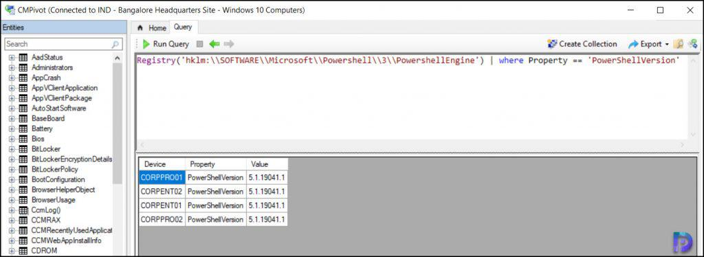 Find PowerShell Version using SCCM CMPivot Query
