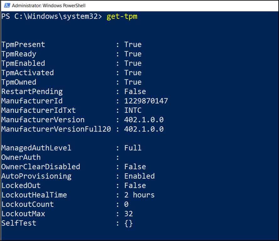 Get TPM status using Get-TPM PowerShell cmdlet