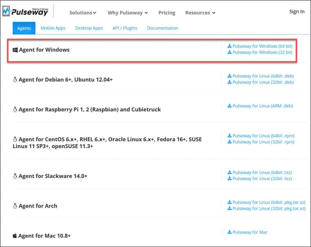 Download Pulseway Agent for Windows