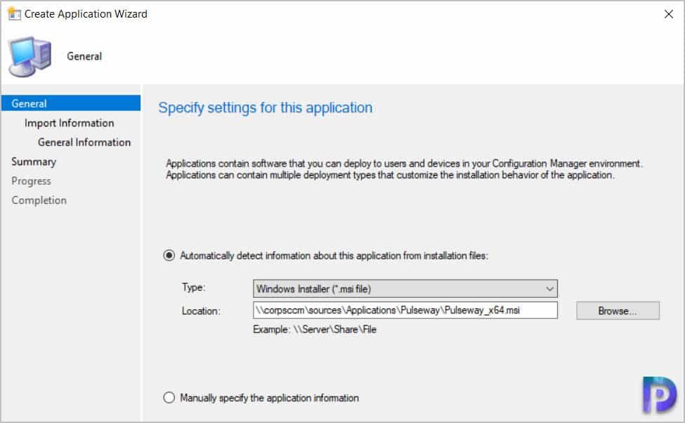 Create Pulseway Application in SCCM