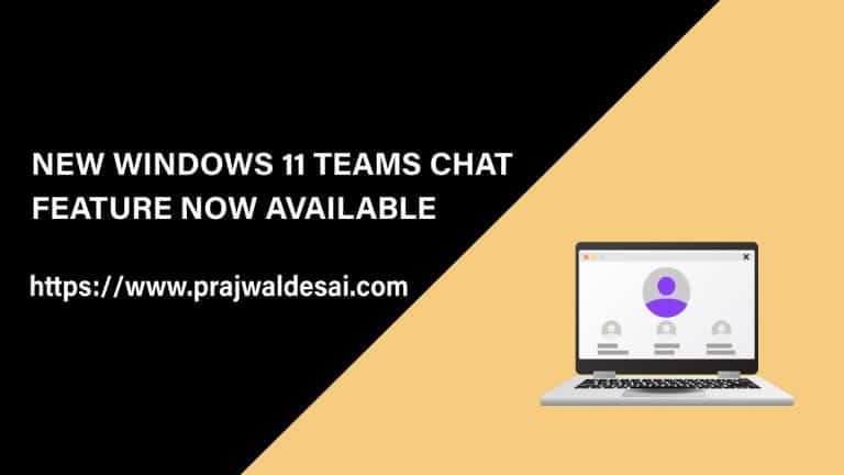 New Windows 11 Teams Chat Now Available
