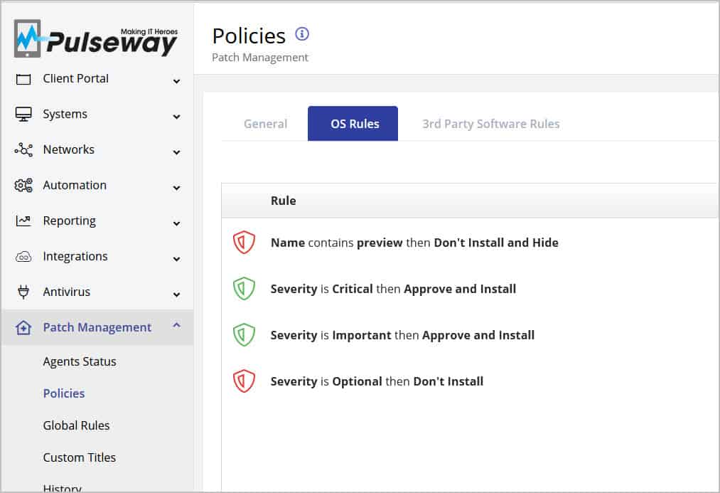Pulseway Patch Management OS Rules