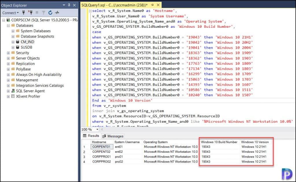 Find Windows 10 Version using SCCM SQL Query