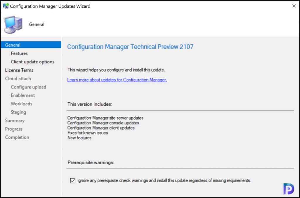 Install Configuration Manager technical preview version 2107
