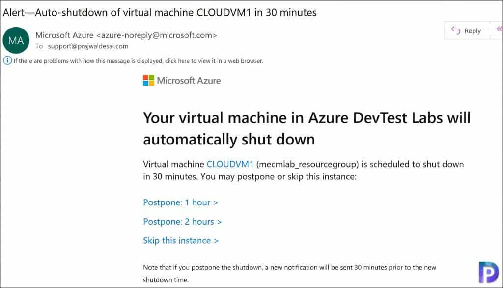 Auto Shutdown Azure Virtual Machines