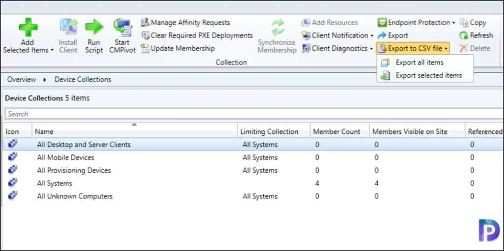 Export Nodes in ConfigMgr Console