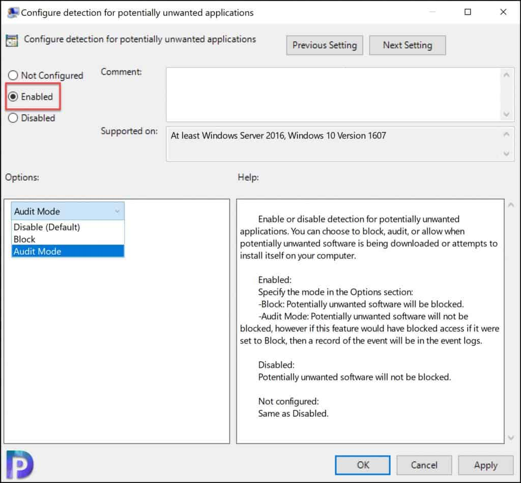 Configure PUA Protection using Group Policy