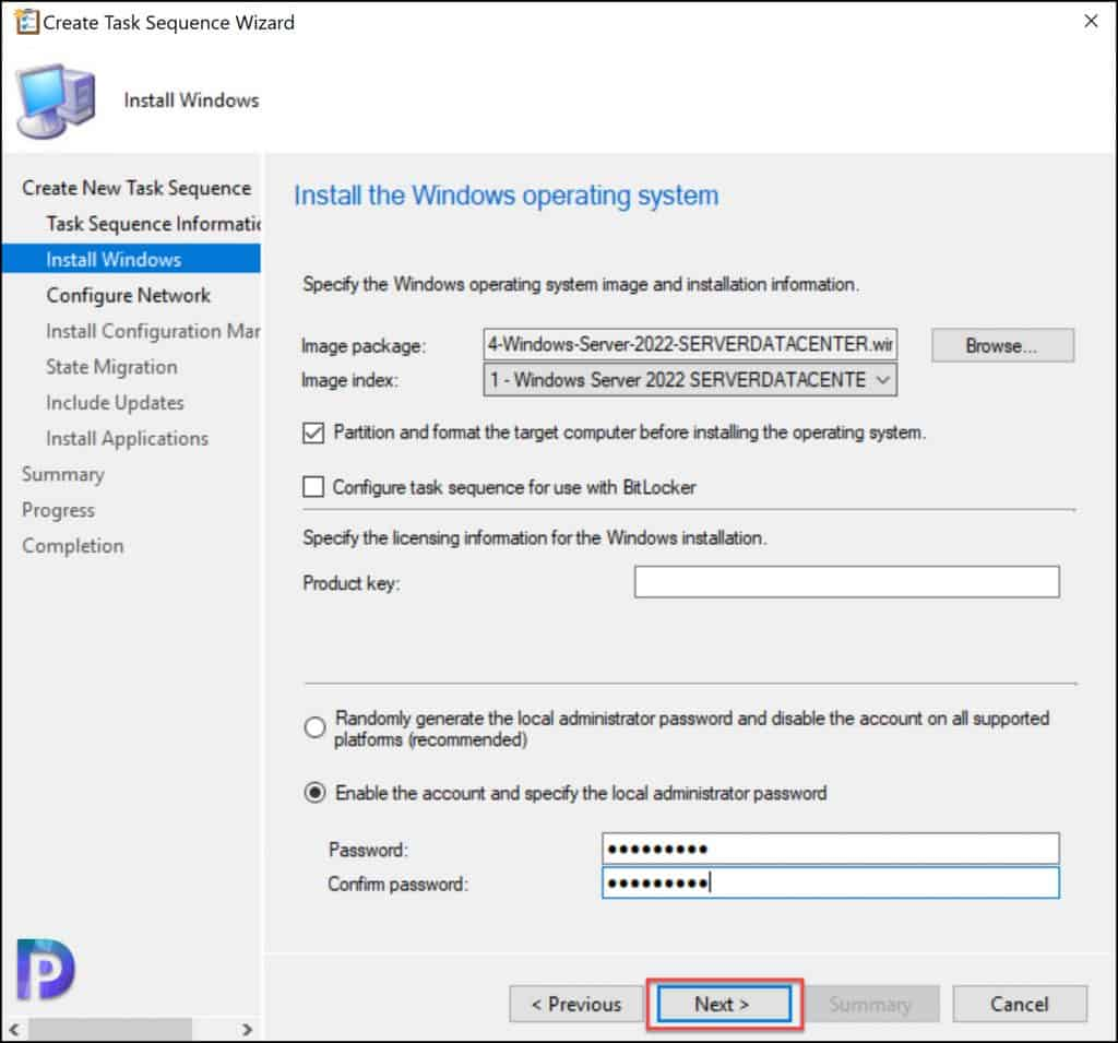 Create Task Sequence for Windows Server 2022