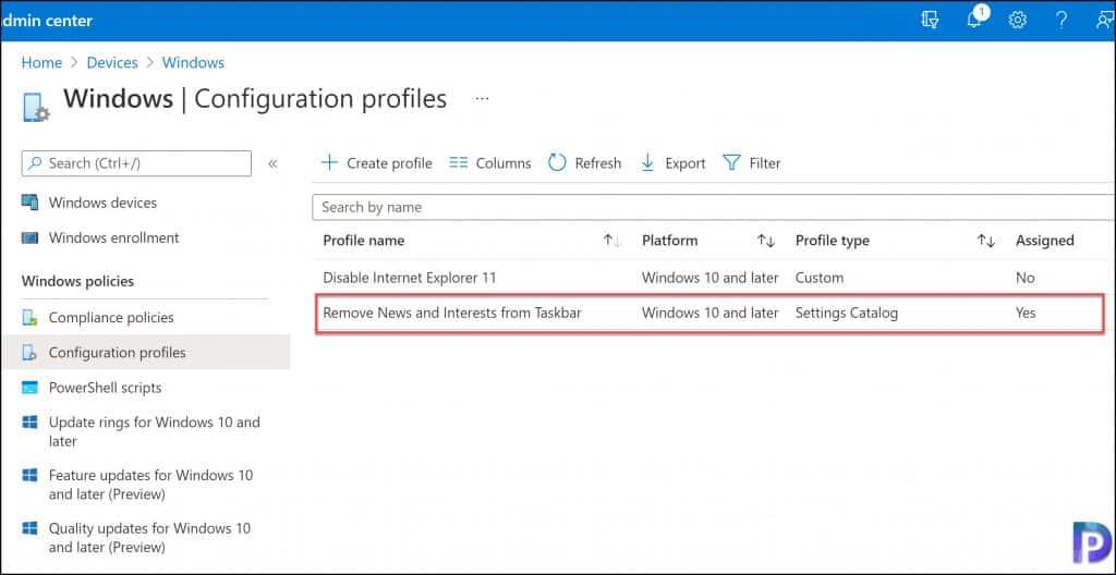 Intune Configuration Profiles