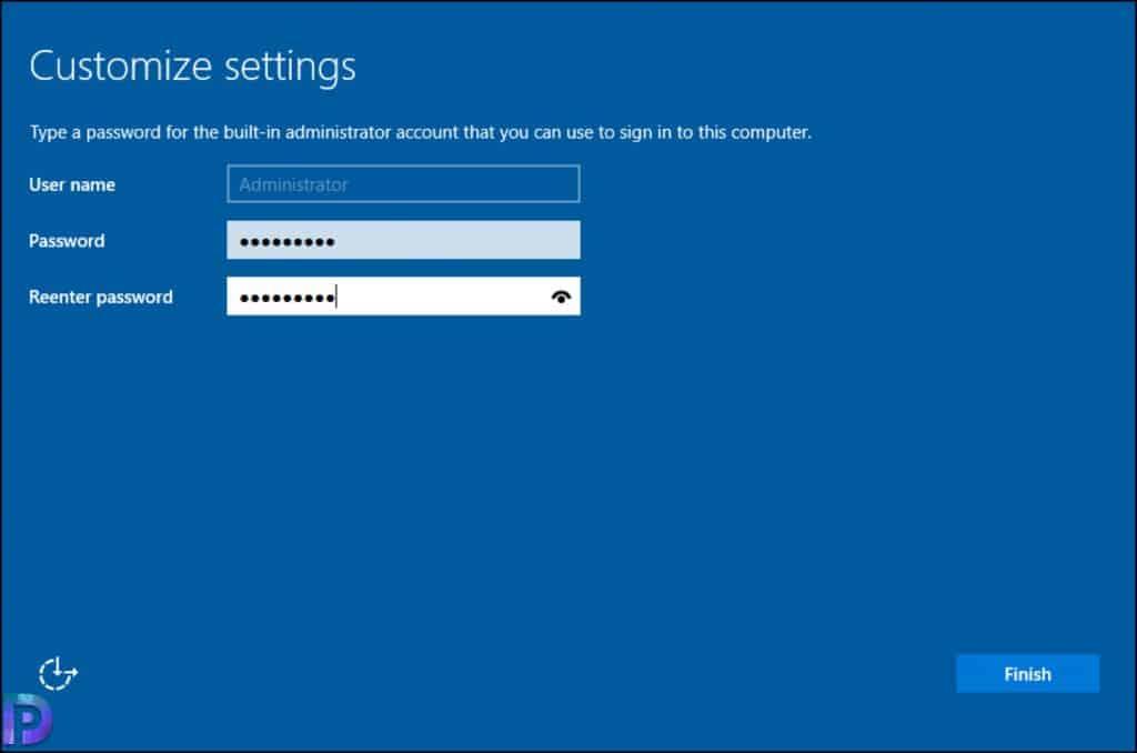 Specify Server 2022 Administrator Password