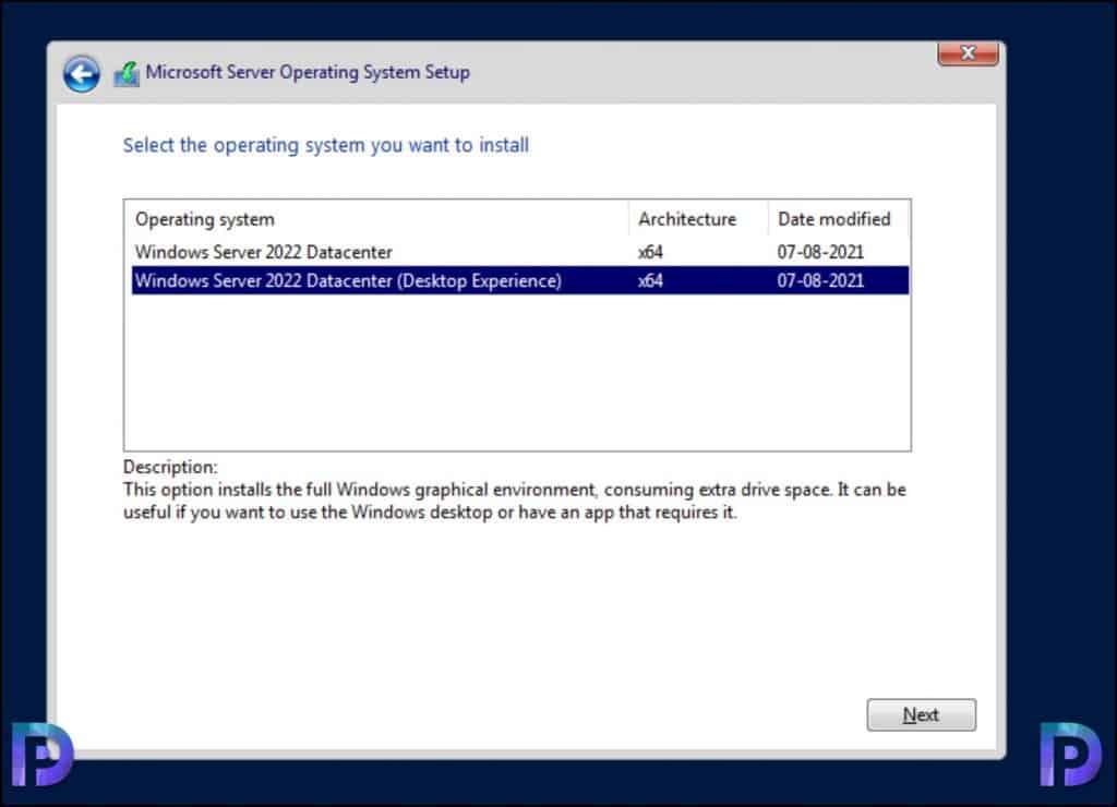 Install Windows 2022 Server
